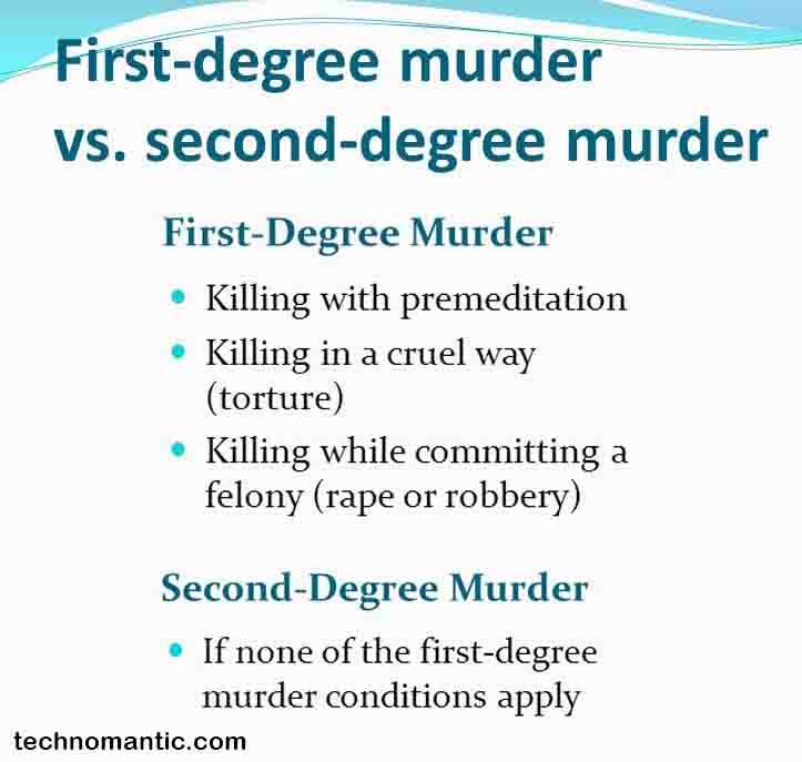 difference between 1st-degree murder, 2nd-degree murder